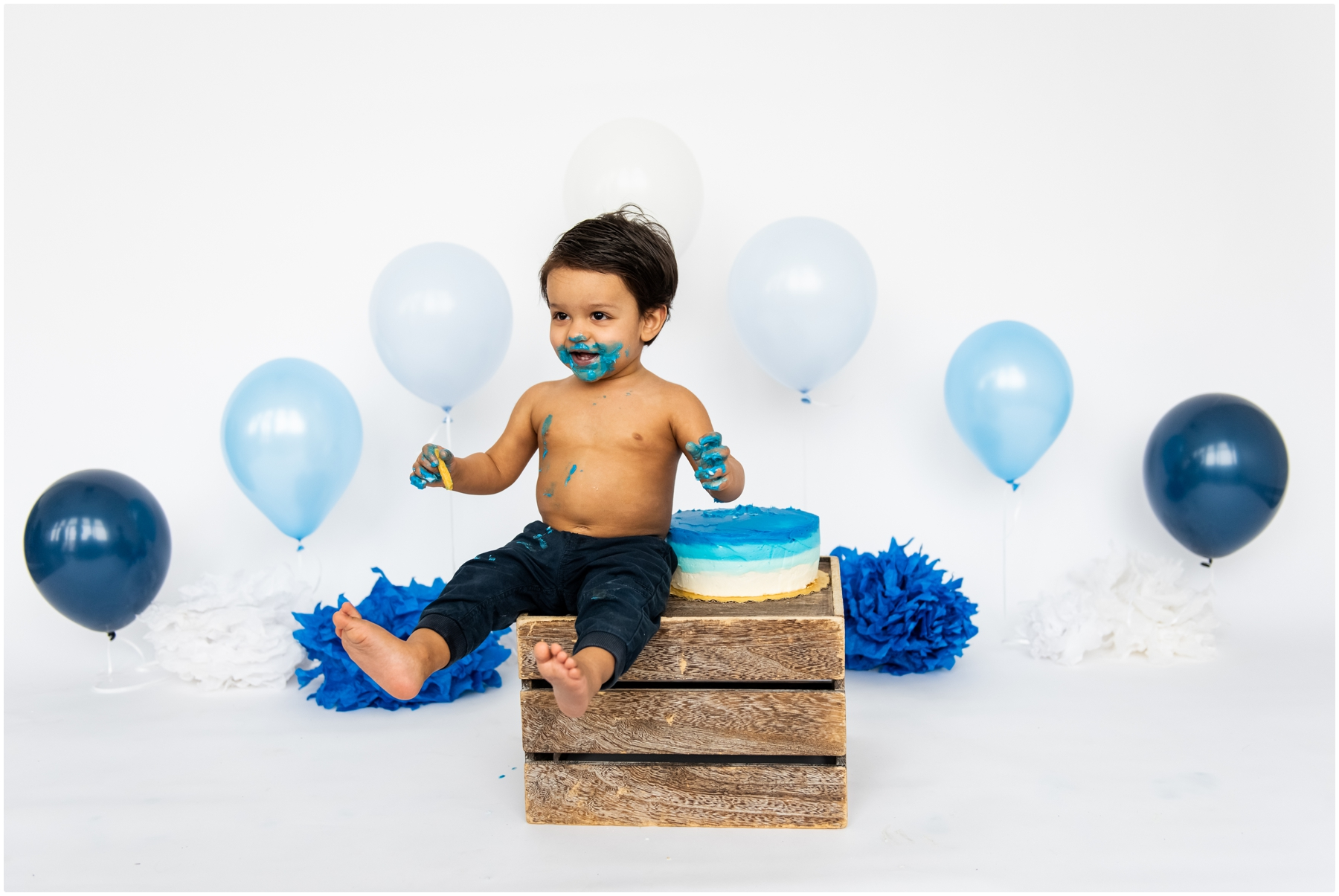 Calgary Blue Ombre First Birthday Cake Smash Photography