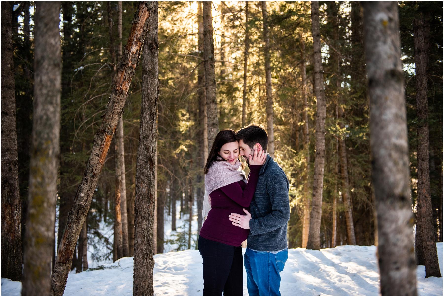 Calgary Dog Friendly Winter Maternity Photographer