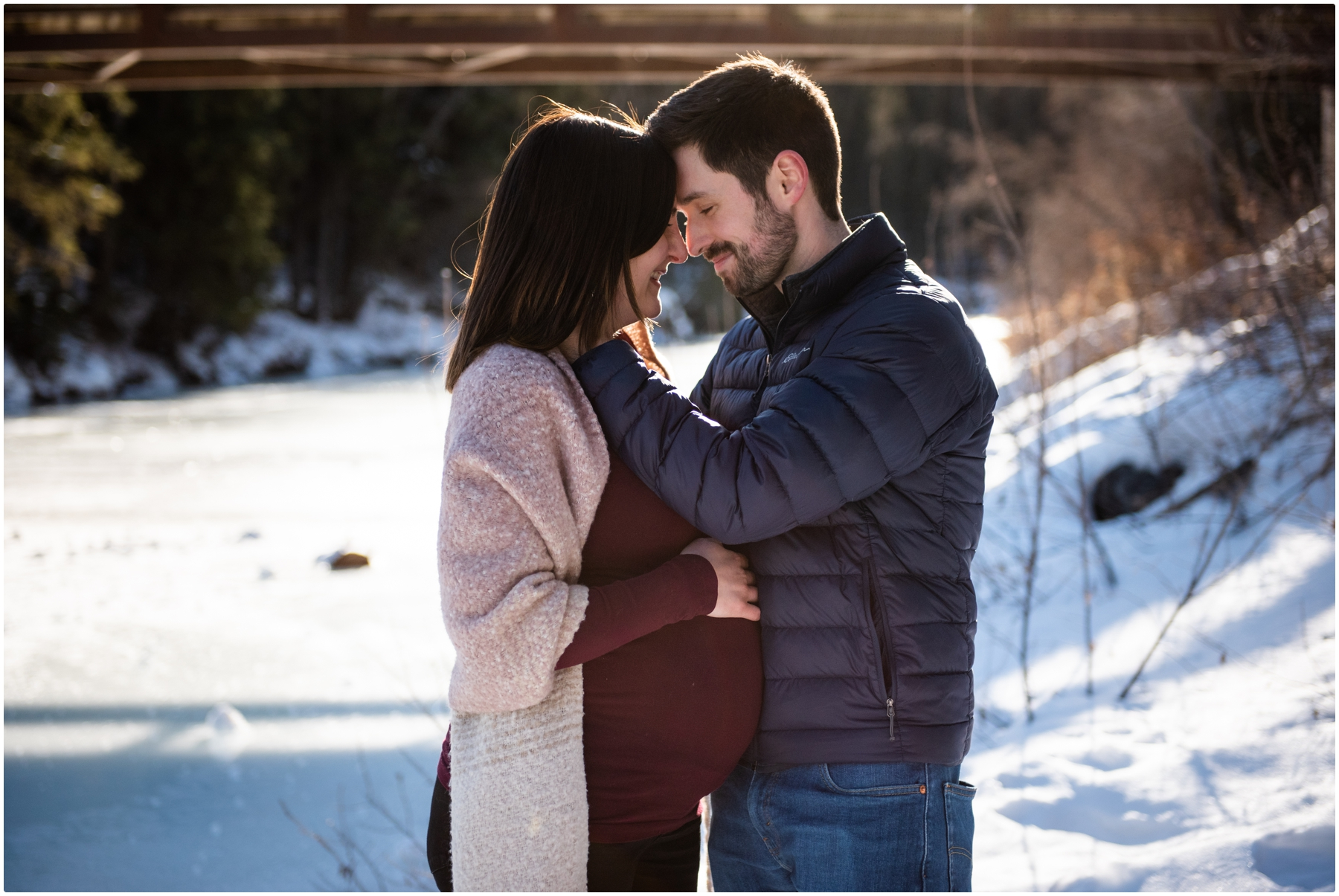 Calgary Fish Creek Park Winter Maternity Photography