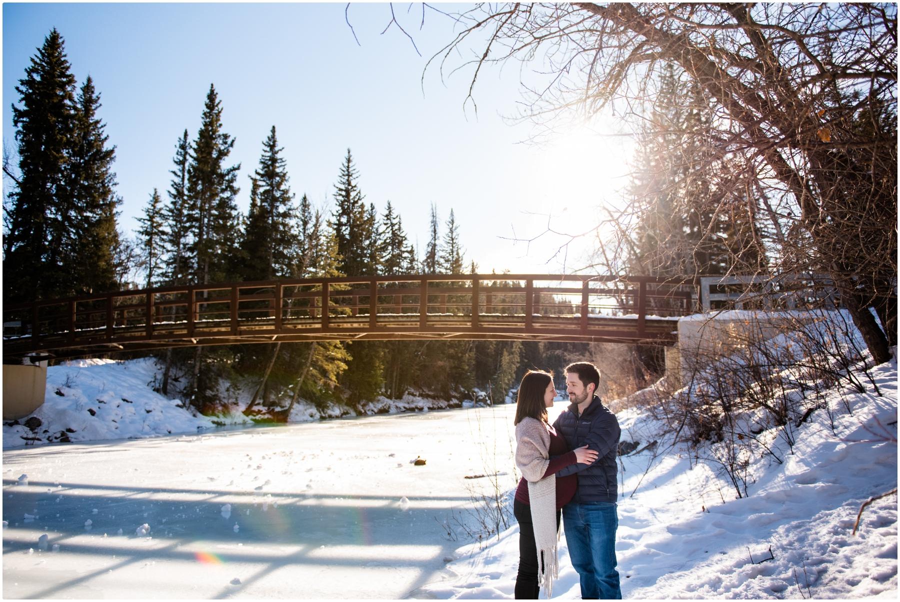 Calgary Winter Maternity Photographers Fish Creek Park