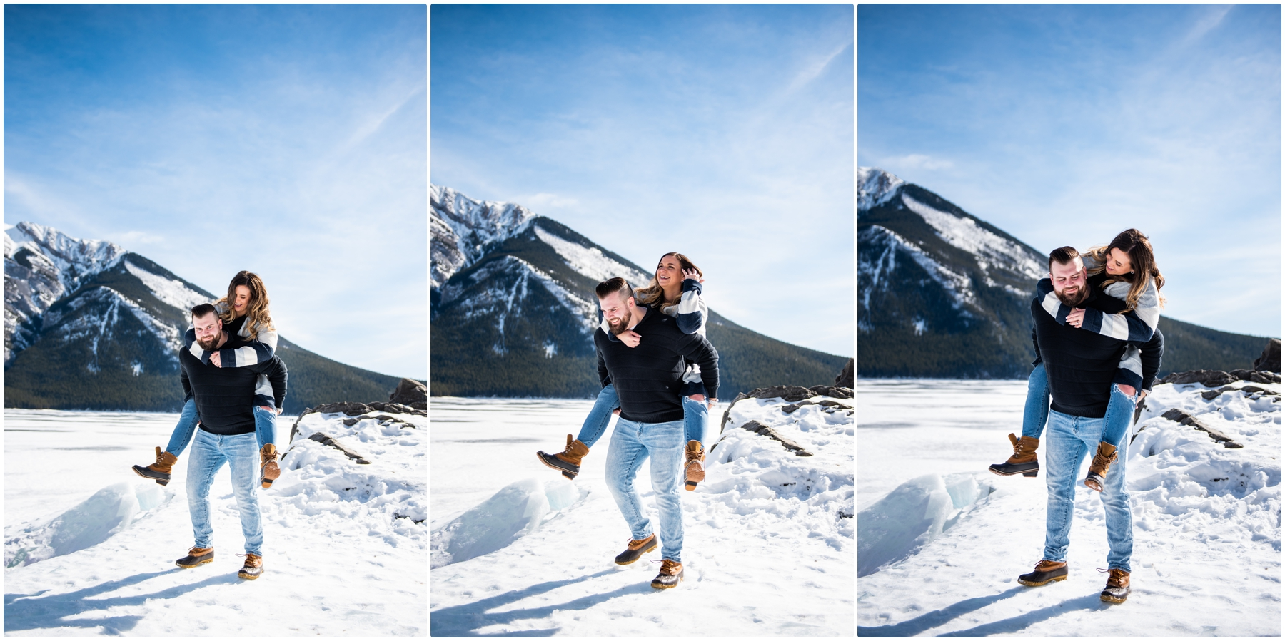 Banff Lake Minniwanka Engagement Photographers