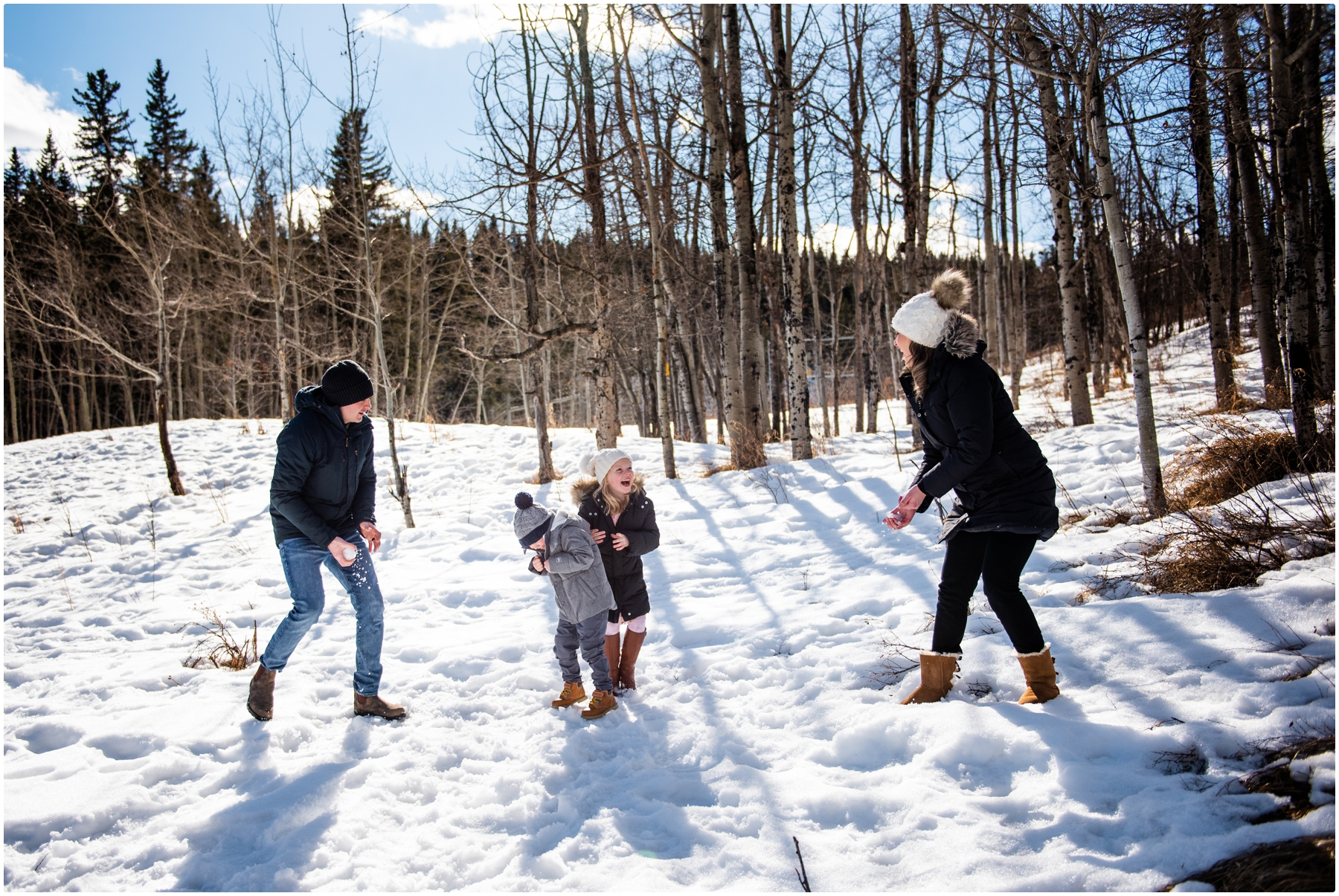 Calgary Snowball Fight Family Session