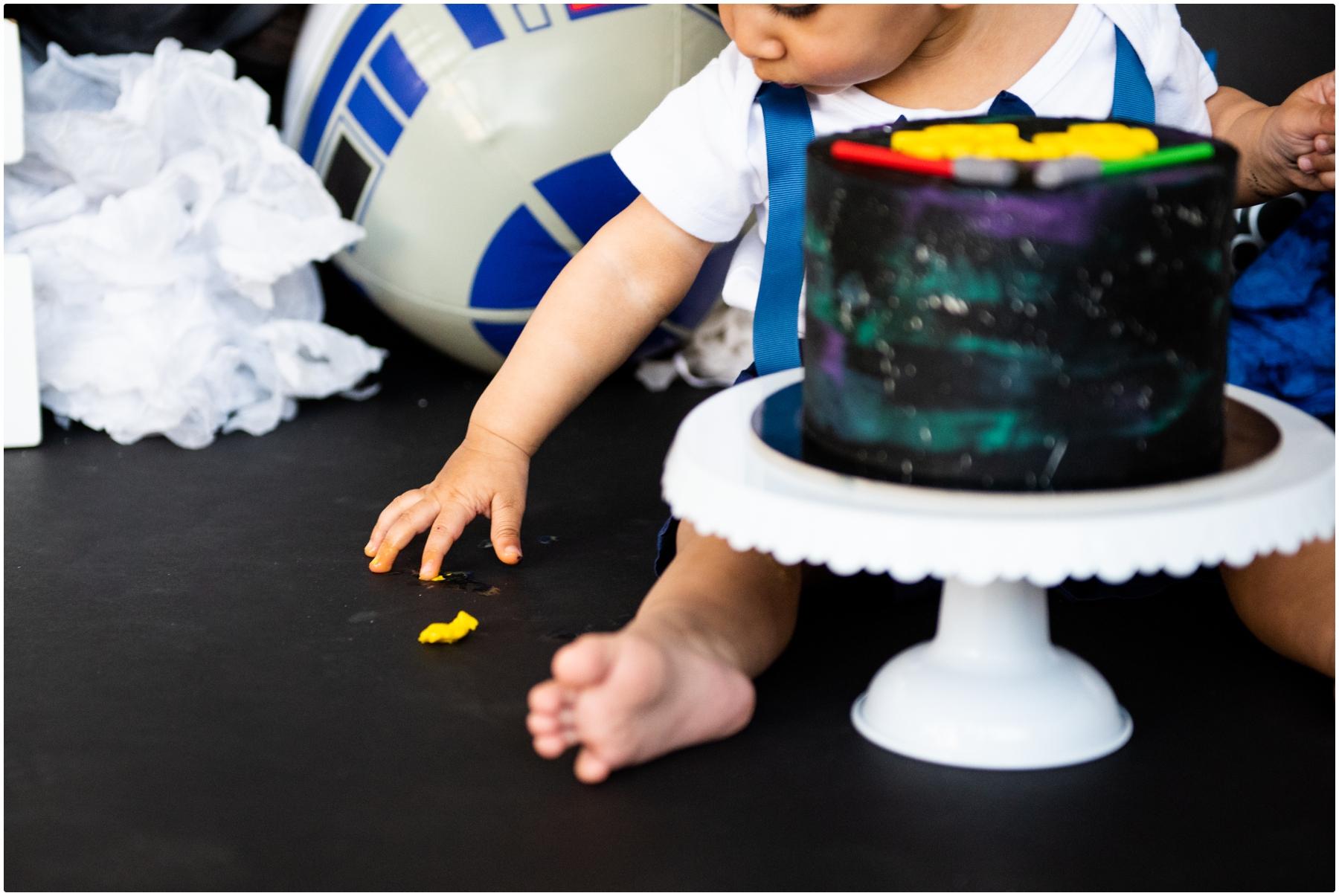 First Birthday Cake Smash Photos Calgary - Star Wars Cake Smash Photos