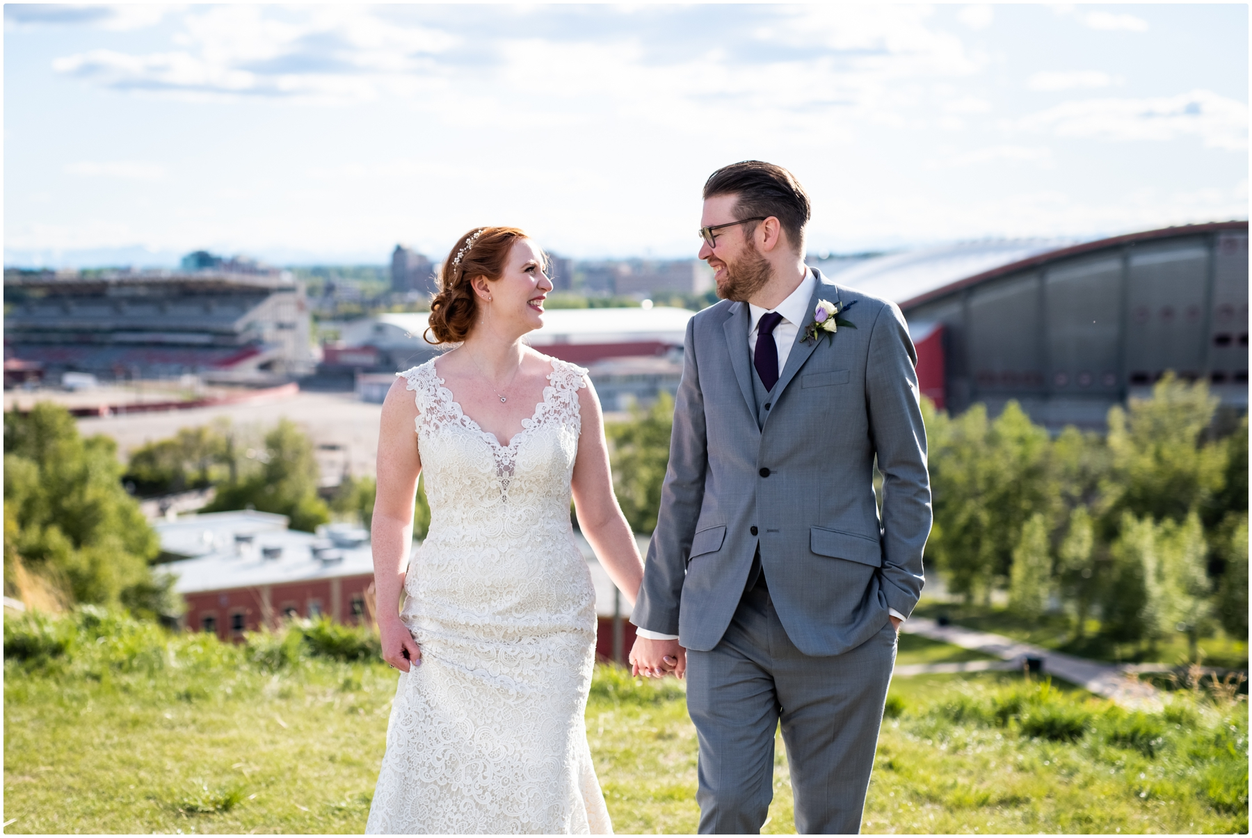 Calgary Downtown Skyline Wedding Photography