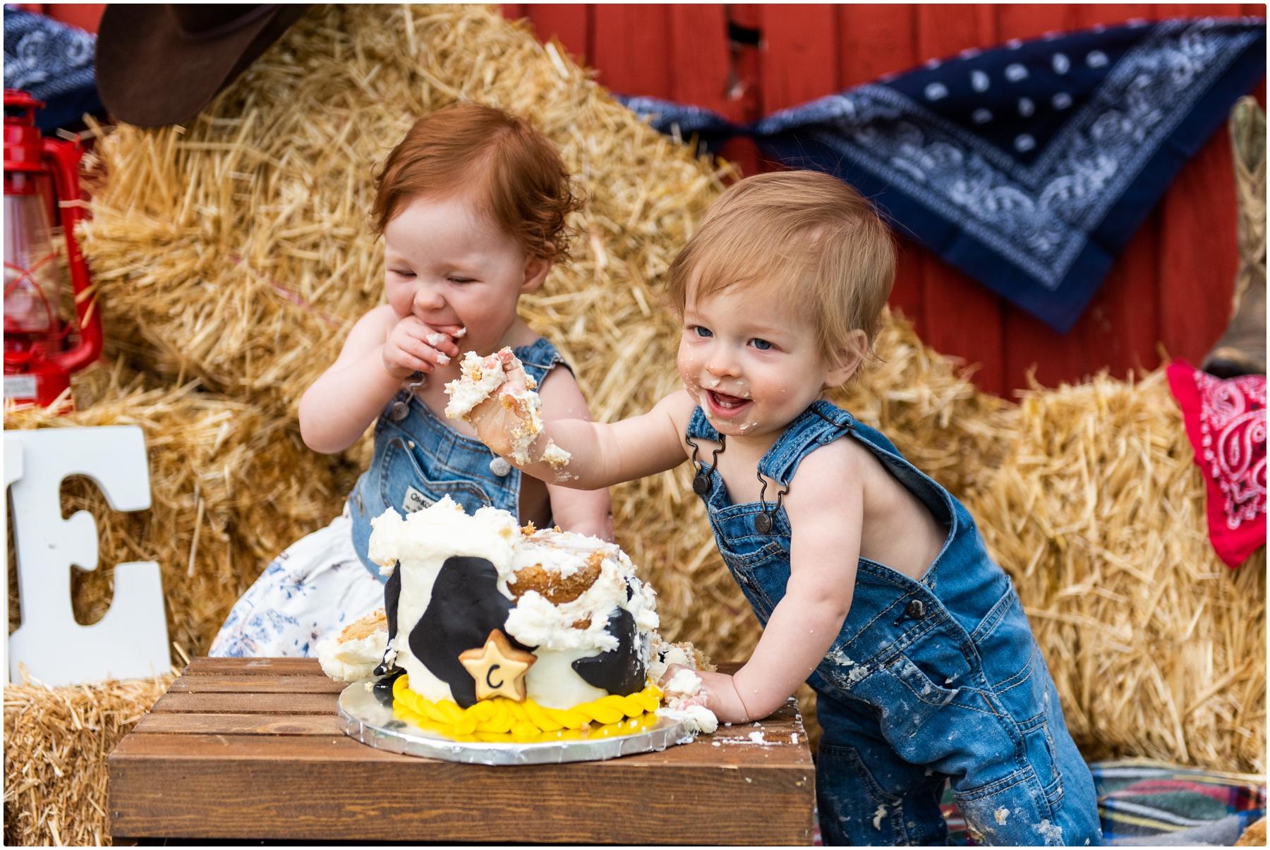 Calgary Western 1st Birthday Cake Smash Photography