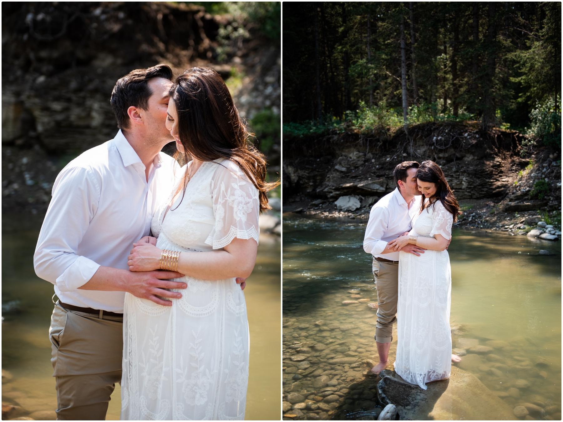Calgary Summer Creek Maternity Photography